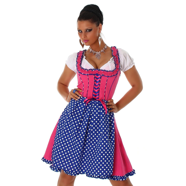 Damen Dirndl 3 teilig edles Trachtenkleid Schürze gepunktet und weißer Bluse in S-XXL Grün & Pink von Jela London