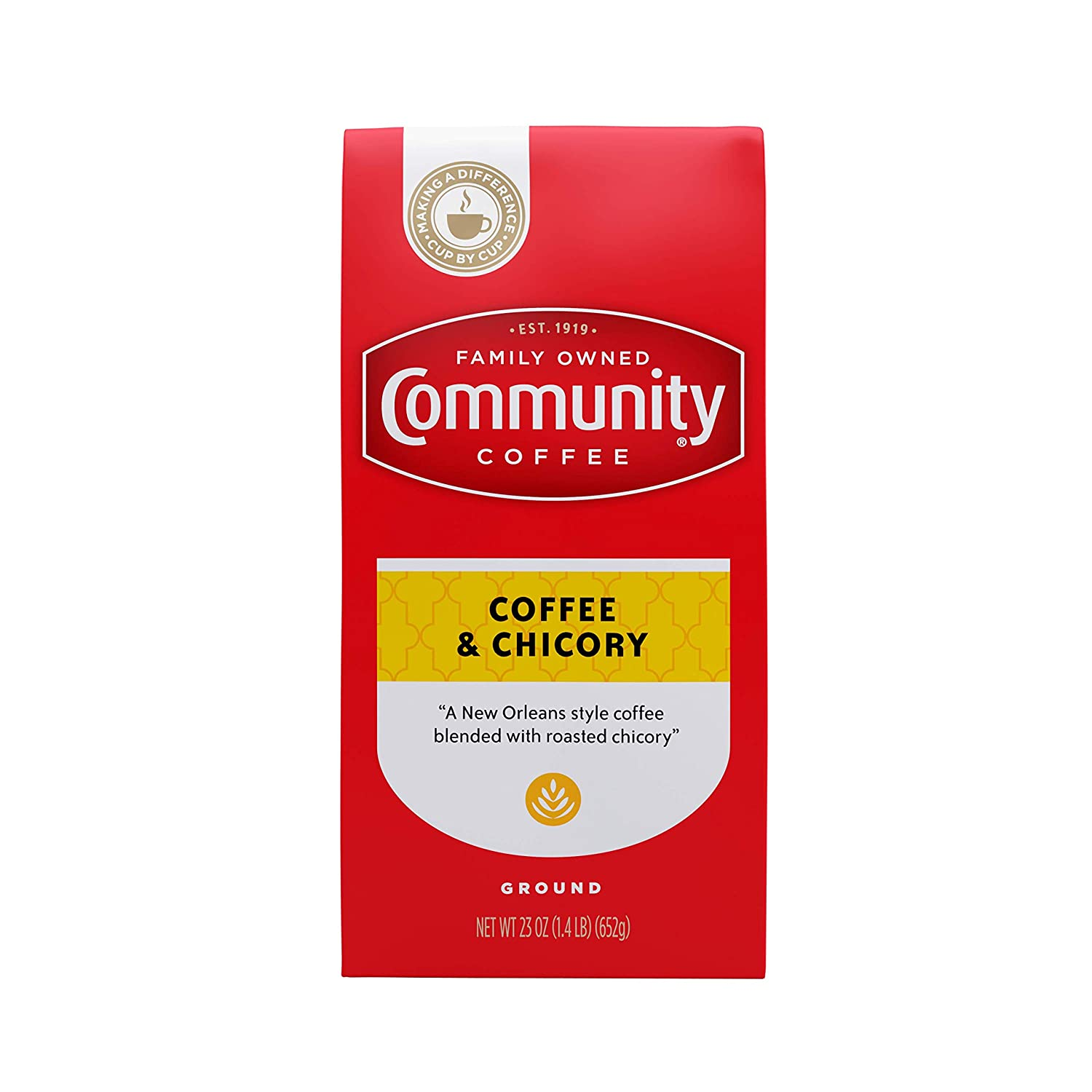 Community Coffee Ground Coffee & Chicory Blend, Ground, 23 oz Bag
