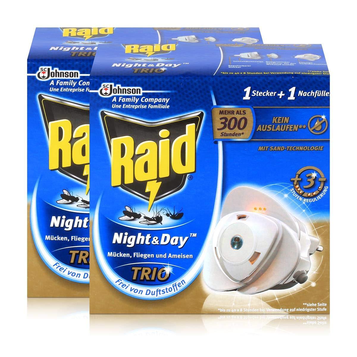 2x Raid Night & Day Trio Insekten Stecker & Nachfüller, gegen Mücken, Fliegen & Ameisen gegen Mücken