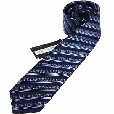 HXCMAN 6cm azul oscuro azul claro rayas corbata Diseño clásico ...