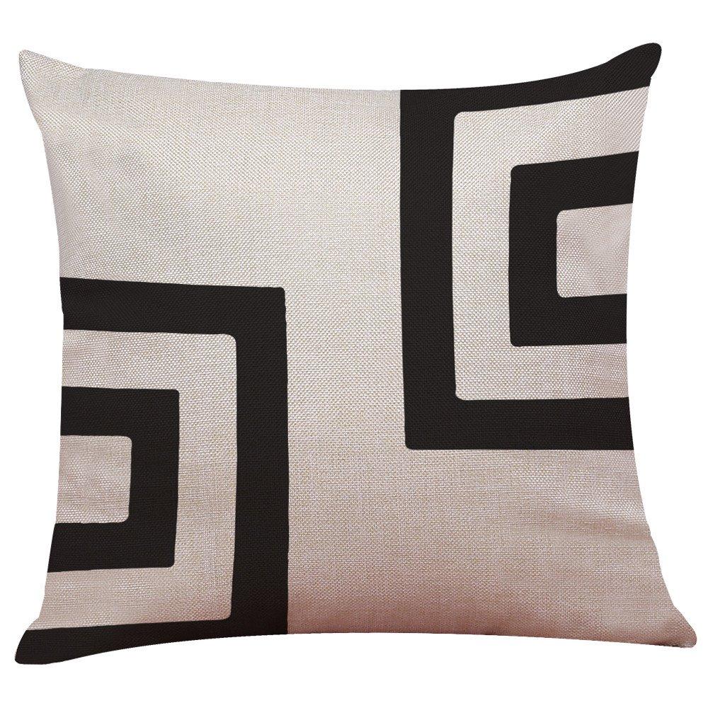 Housse de Coussin CIELLTE 2018 Mode Maison Pillow Case Noir Blanc en Couleurs Linge de Lin Decor Couvre Coussins 45cm x 45cm