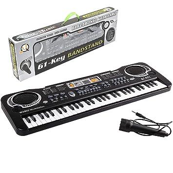 Qwhome Piano Teclado, música Digital Piano electrónico órgano 61Key Multi-función niños Piano,