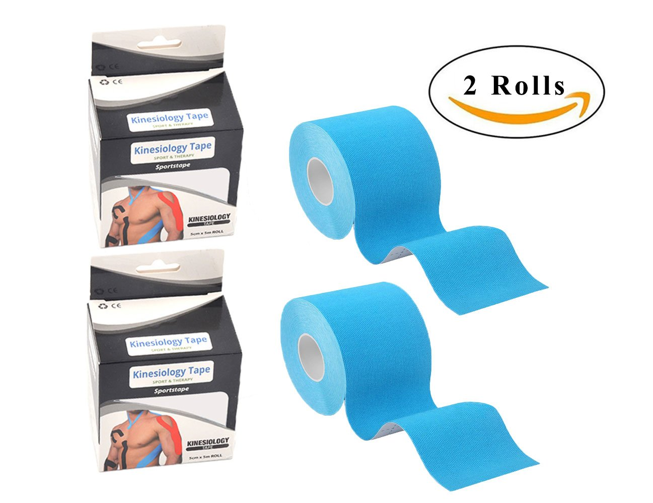 Kinesiology Tape for Plantar Fasciitis Knee Shoulder Elbow Waterproof Best Pain Relief Adhesive,Physio Therapeutic Aid Elastic Kinesiology Tape,2 Rolls (2'' x 16.5 feet Per Roll,Blue)