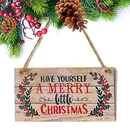 Have Yourself A Merry Little Christmas Sign.Amazon Com Merry Christmas Sign Leegoal Wood Plank Design