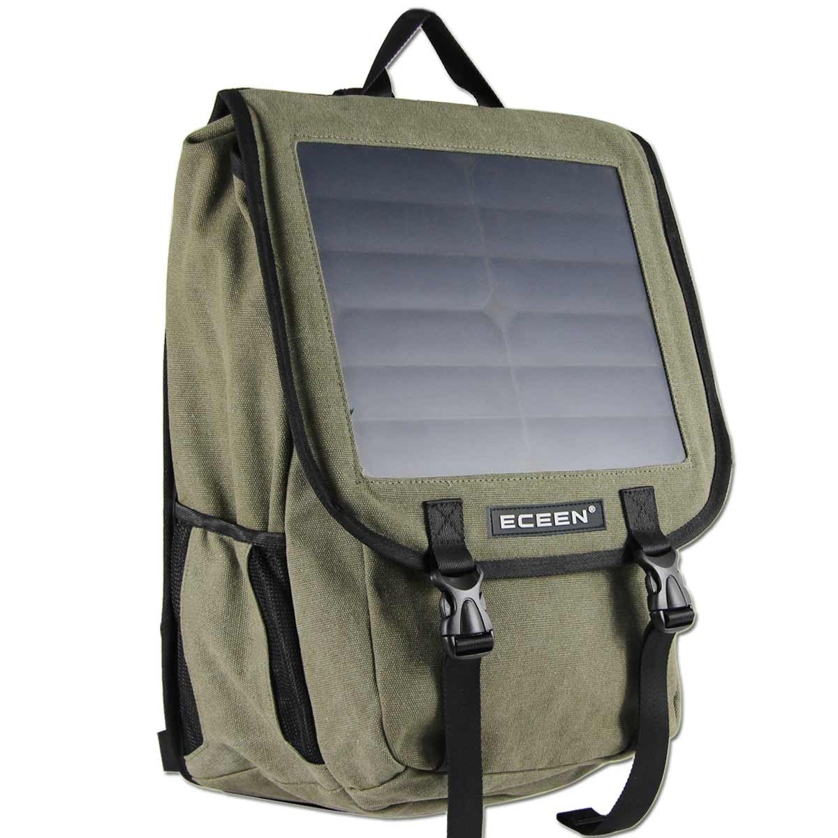 ECEEN Solar Backpack Bag Make By Canvas Material with 10 Watts Solar Charger Panel for Cell Phones, Tablets, Digital Cameras Etc. 5v Device
