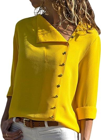 Botón de Cuello Oblicuo Camisa de Vestir de Siete Puntas para Mujer Camisas para Vestir (Color : Yellow, tamaño : M): Amazon.es: Ropa y accesorios