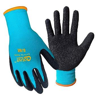3 pares de guantes de trabajo de jardín, palma de látex texturizada para agarre, resistencia a la espina y resistencia al agua, L, turquesa, 6000: Amazon.es: Industria, empresas y ciencia