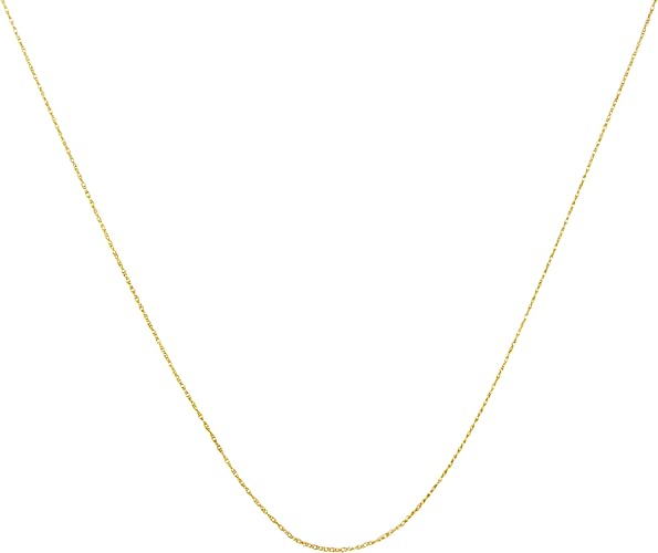 """17/"""" Solid 10k Yellow Gold Rope Chain Dainty Lightweight Spring Ring Clasp NEW"""