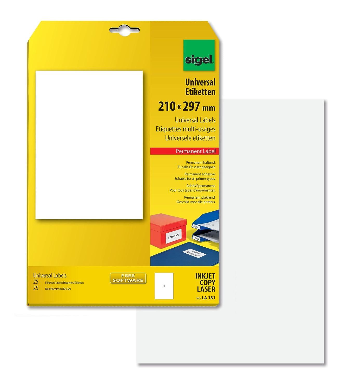 Sigel LA181 Universal Etiketten weiß 210 x 297 mm A4 25