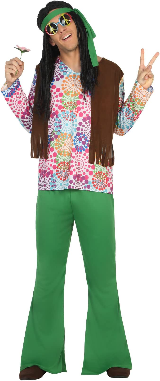 Atosa-16494 Disfraz Hippie, Color Verde, M-L (16494): Amazon.es ...