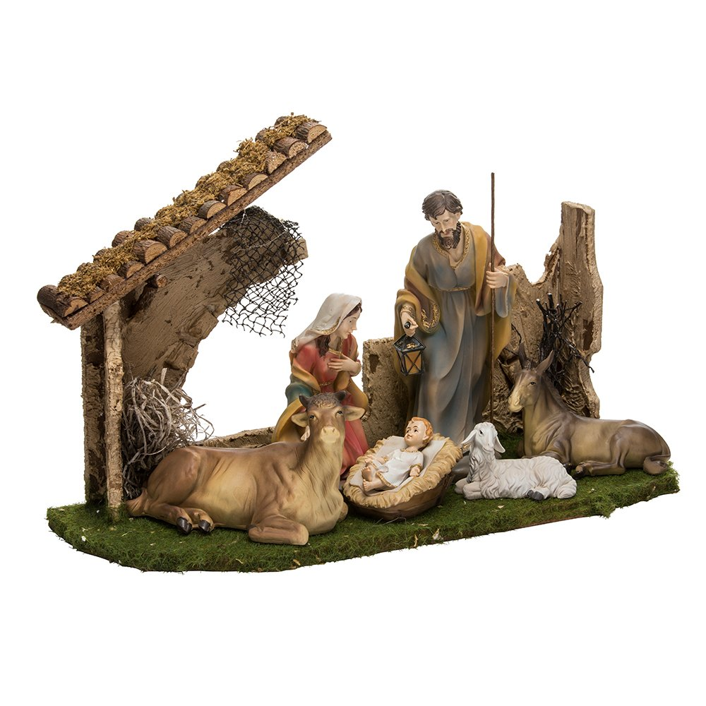 Kurt Adler Holy Family Set with 6 Figures and Stable