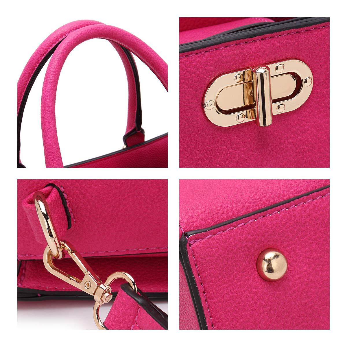 Women's Fashion Handbags Tote Purses Shoulder Bags Top Handle Satchel Purse Set 2pcs 01- Fuchsia by Dasein (Image #4)