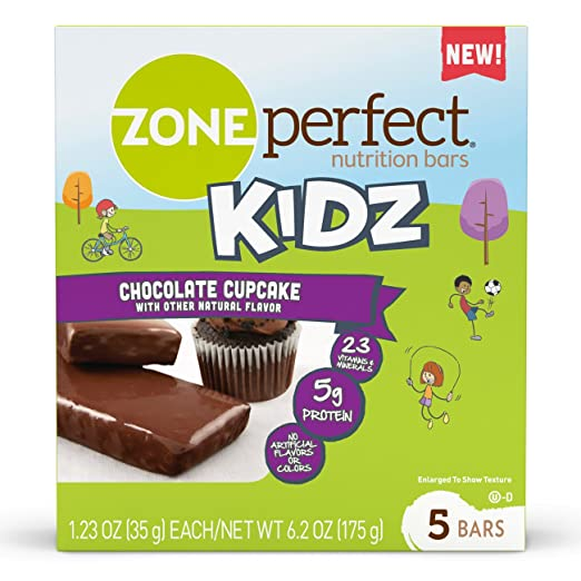 ZonePerfect Kidz Nutrition Bars, No Artificial Flavors or Colors, Chocolate Cupcake, 1.23 oz, 30 Count