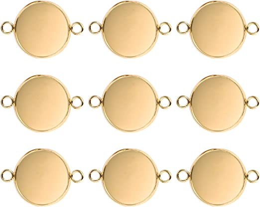 DROLE 20Pcs Stainless Steel Bezel Pendant Trays Gold Plated Earring Trays Pendant Trays Round Bezel for Photo Pendant Craft Jewelry Making Fit 10mm Cabochons