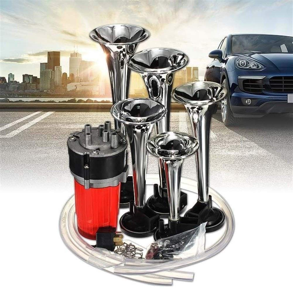 Universal 5 Trumpet Musical Dixie Dukes Of Electronic Chrome Air Horn Compose Car Truck Boat 12V 125db (Color : White-1) by XIAOLAOBIAO