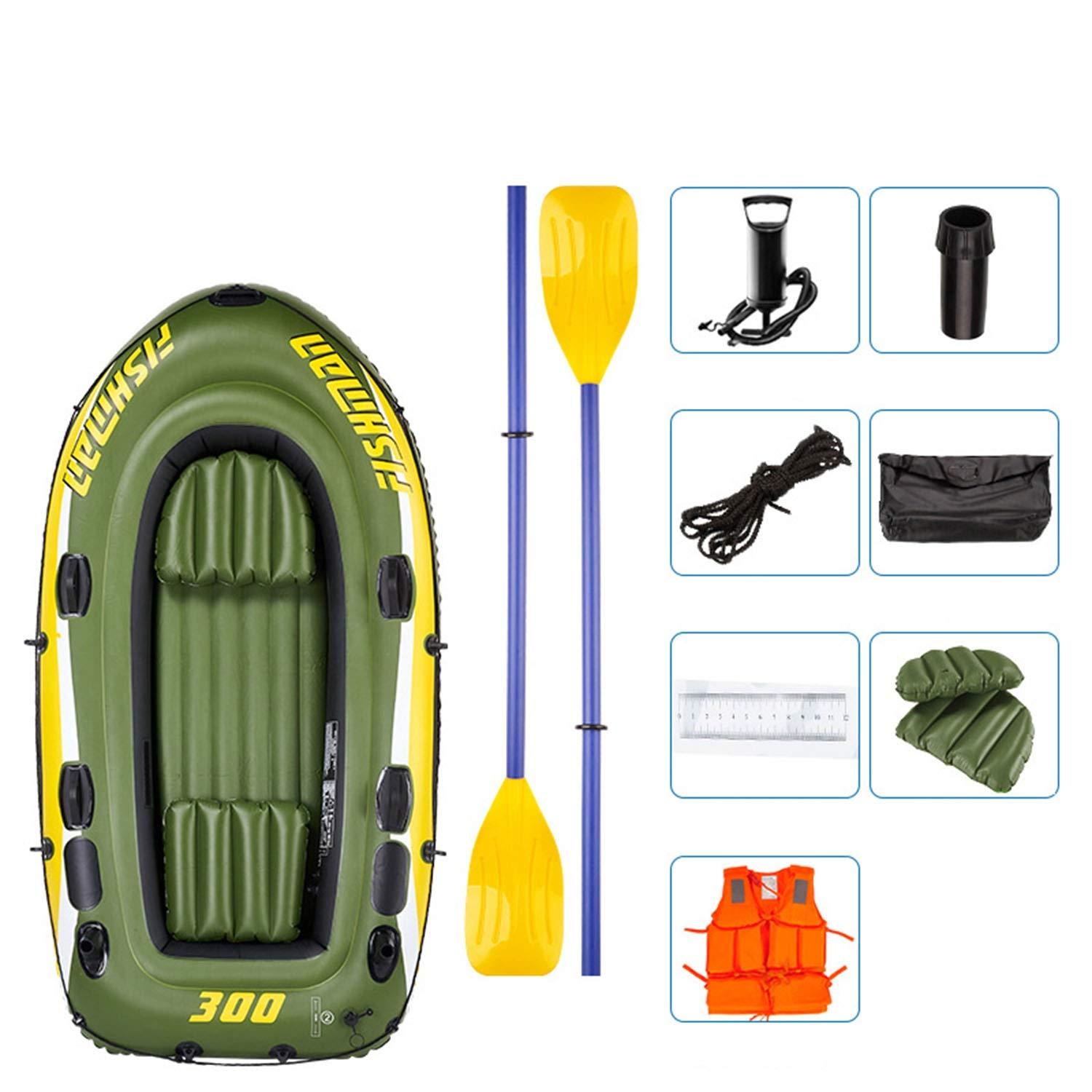 Inflatable Rubber Boat, River Fishing Boat for 3 People, with 2 Aluminium Oars and Foot Pump, Max Load 350 kg