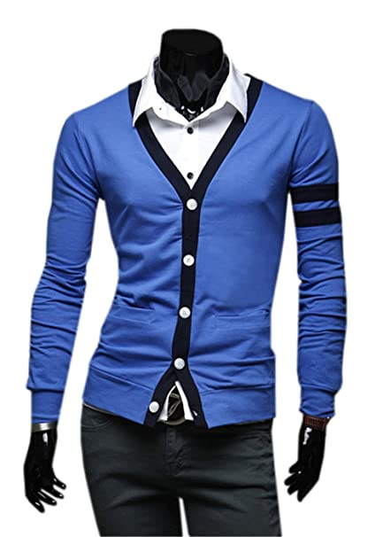 COCO clothing Cardigan Juvenil Patchwork Chaquetas Hombre Suéter Cazadora Casual Prendas de Punto Outwear Caballero Jerséis
