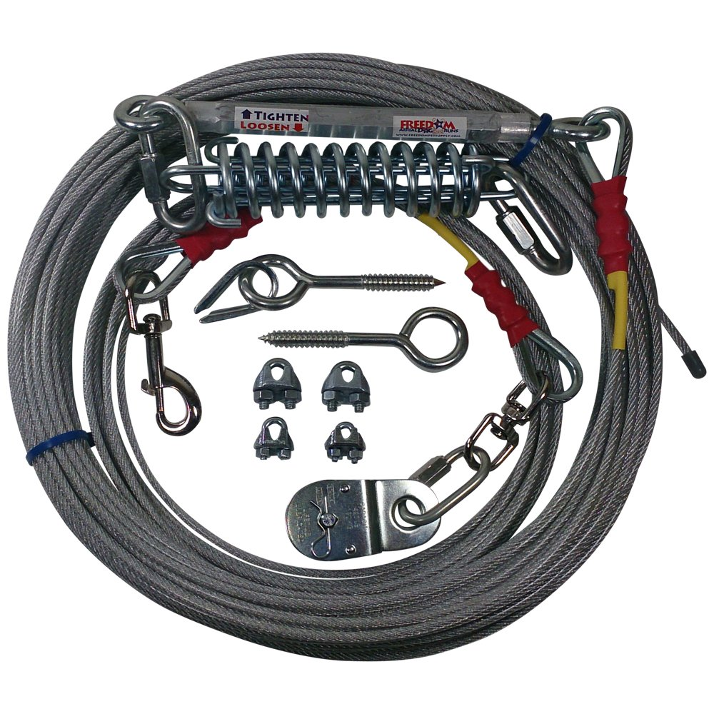 Freedom Aerial Dog Run 100 Ft Overhead Cable with Shock Absorbing Spring FADR-100SA