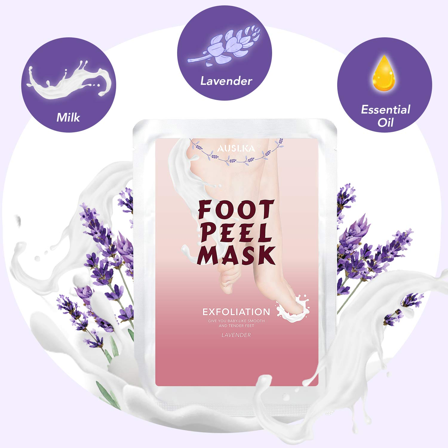Foot Peel Exfoliating Mask 2 Pack, Exfoliant For Soft Feet Peeling, Rid Dead Skin Cells, Supple And Intensely Hydrated