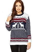 Crazy Girls Unisex Mens Womens Reindeer Christmas Jumper Fairisle Xmas Novelty Knitted Sweater Top S/M-3XL