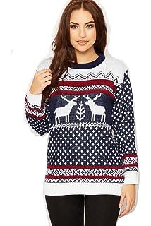 98679c0b6d2 Crazy Girls Unisex Mens Womens Reindeer Christmas Jumper Fairisle Xmas  Novelty Knitted…