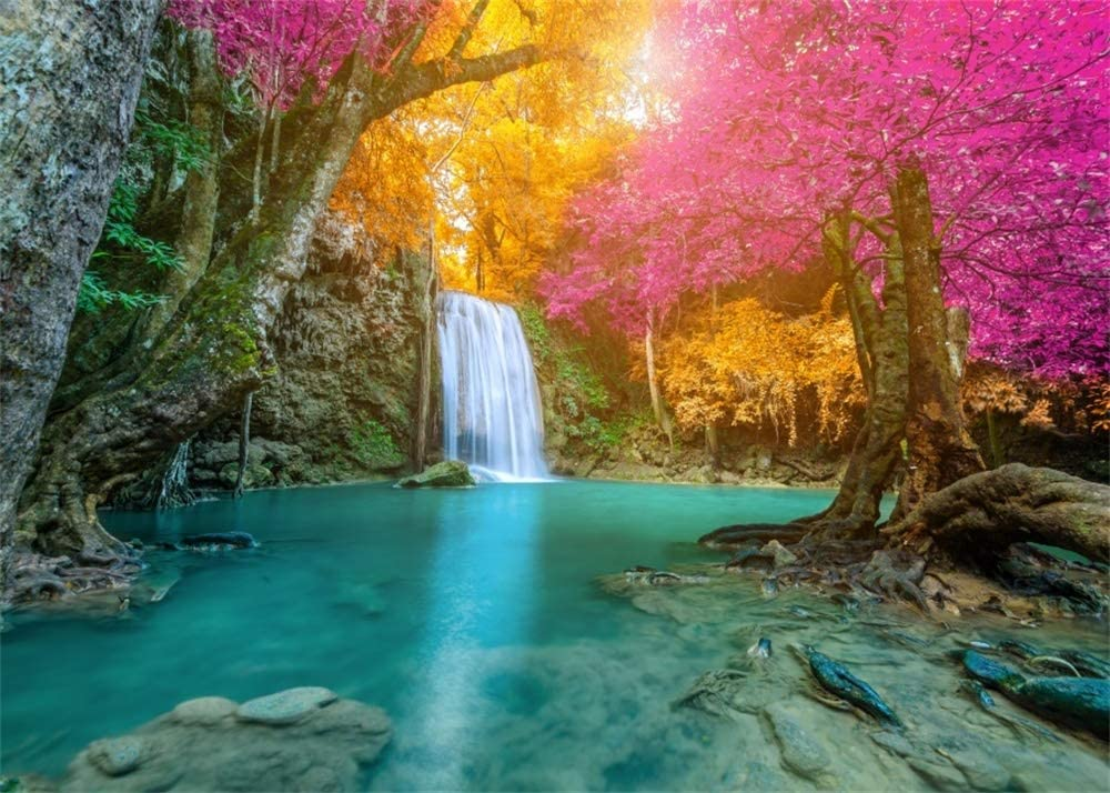 AOFOTO 10x7ft Deep Forest Waterfall Backdrop Vinyl Nature Colorful Autumn Fluid River Erawan National Park Fall Natural Landscape Background for Photography Scenic Spot Cascade Photo Studio Props