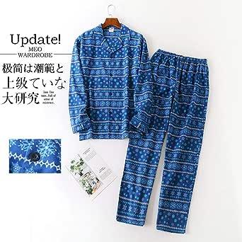 Pijamas de algodón Cepillado de Invierno Hombre Hombre Ropa de ...