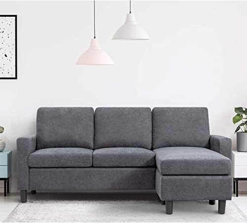 Walsunny Convertible Sectional Sofa for Small Space, L-Shaped Couch with Modern Linen Fabric Grey