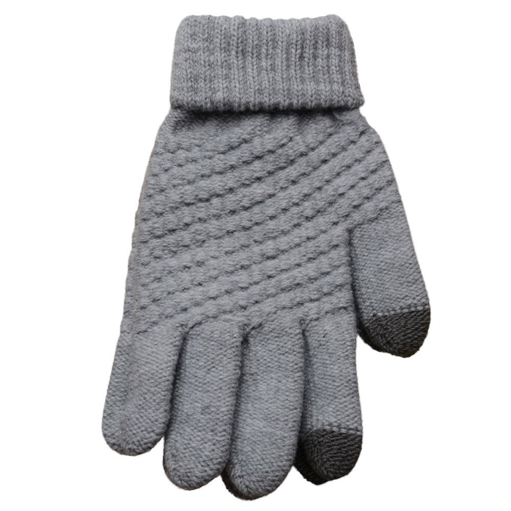 PASATO Knit Wool Soft Man Women Winter Keep Warm Windproof Mittens Gloves For Unisex Anti-Slip Touchscreen Texting Gloves(gray,Free Size)