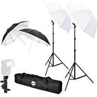 Flash Mount Umbrellas TFJ Professional Flash Shoe Mount Swivel Soft Umbrella Kit with E-Type Brackets (New Version) for Canon, Nikon, Sony, Pentax, Olympus and other DSLR and Studio LED