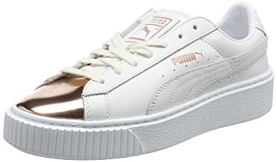 Puma Damen Basket Platform Metallic Sneaker Weiß (White-Rose Gold) 38.5 EU