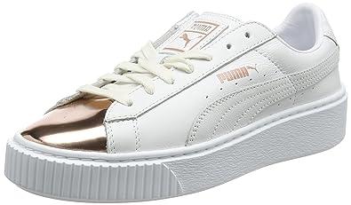 33d4c2798a14de Puma Damen Basket Platform Metallic Sneaker Weiß (White-Rose Gold) 38.5 EU