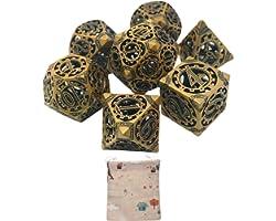 lahomia Conjunto de dados de metal sólido poliédrico oco de liga de zinco para jogo de mesa DND - Bronze
