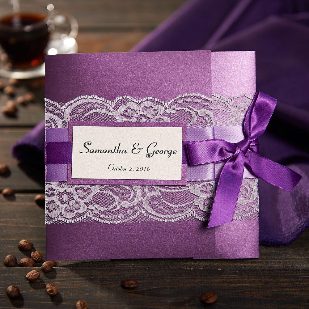 50 Morado invitaciones de boda con libre de Listón Personalizado IMPRESIóN personalizada y tarjetas de boda con RSVP zsk3008, purple card with purple ribbon, 50pcs