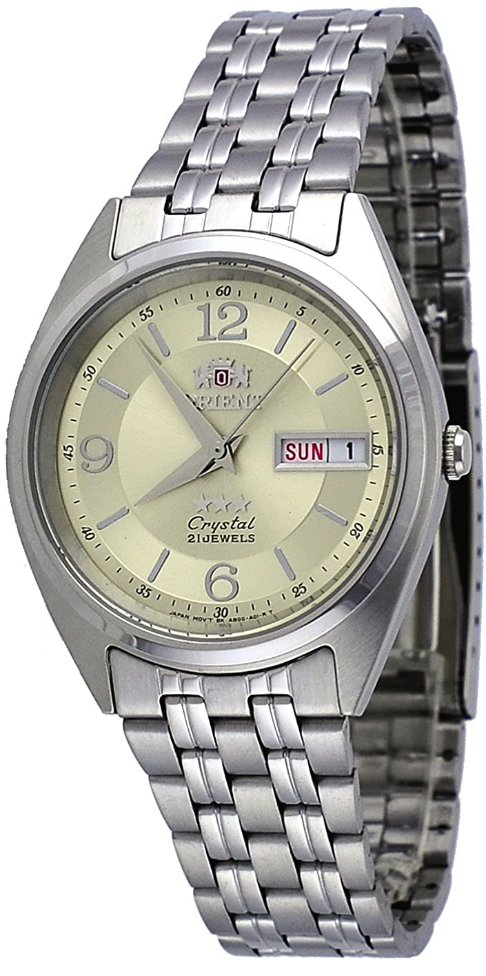 Orient FAB0000EC Men s 3 Star Stainless Steel Gold Dial Day Date Automatic Watch
