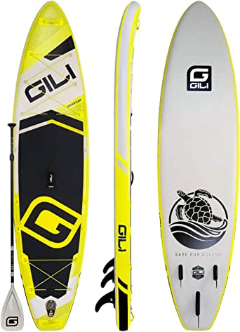 """GILI Adventure Inflatable Stand Up Paddle Board: Lightweight, Durable Touring SUP: Wide & Stable Stance 11' x 32"""" x 6"""" Thick (Yellow)"""