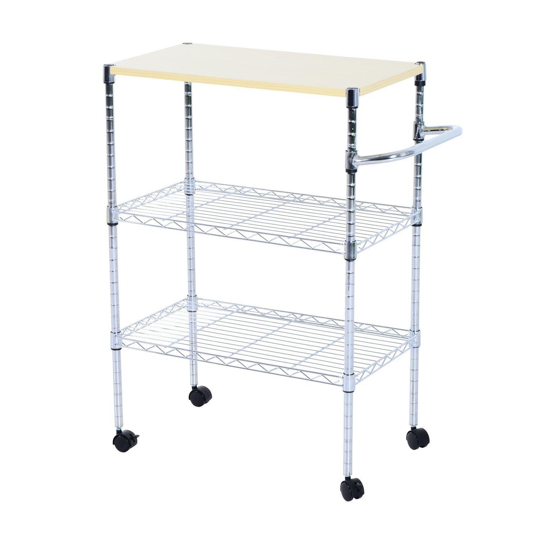 HomCom 24-in. Portable Rolling Wire Shelf Wood-Top Kitchen Storage Trolley