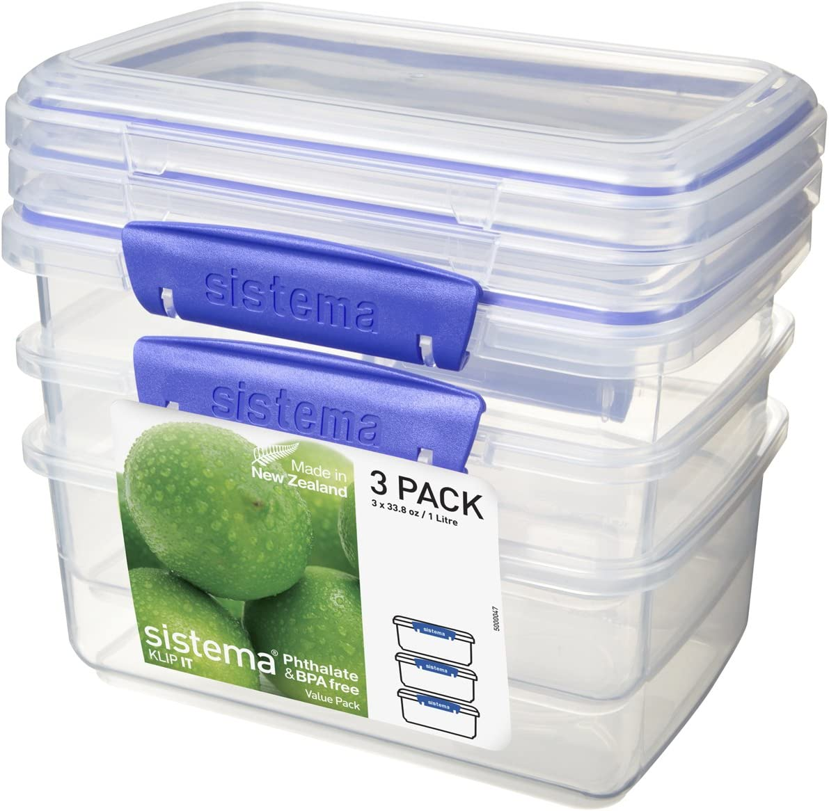 Sistema KLIP IT Rectangular Collection Food Storage Container, 33.8 oz./1.0 L, Clear/Blue, 3 Count