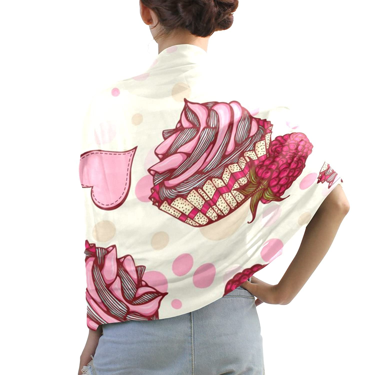 Shawl Wrap Sheer Scarves,Hand Painted Girls Like Pink Cake,Oblong Chiffon Scarf