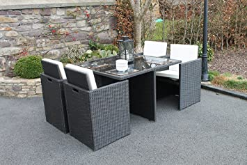 Gartenmöbel rattan set  Amazon.de: Culcita Gartenmöbel Set 4 Sitzer Cube Rattan Set mit Kissen