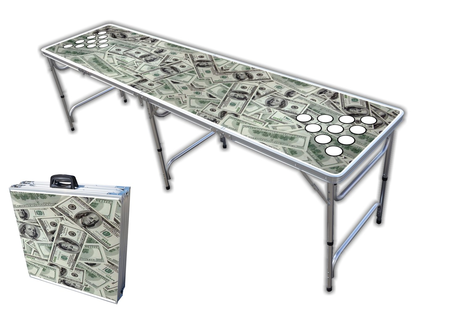8-Foot Professional Beer Pong Table w/Cup Holes - So Friggin Money Graphic by PartyPongTables.com