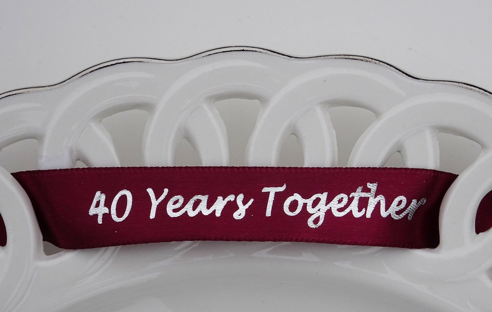 40th Anniversary Plate - Porcelain Heart Shaped Plate for 40th Anniversary Gift by Jubilee Celebrations by Wellhaven (Image #1)