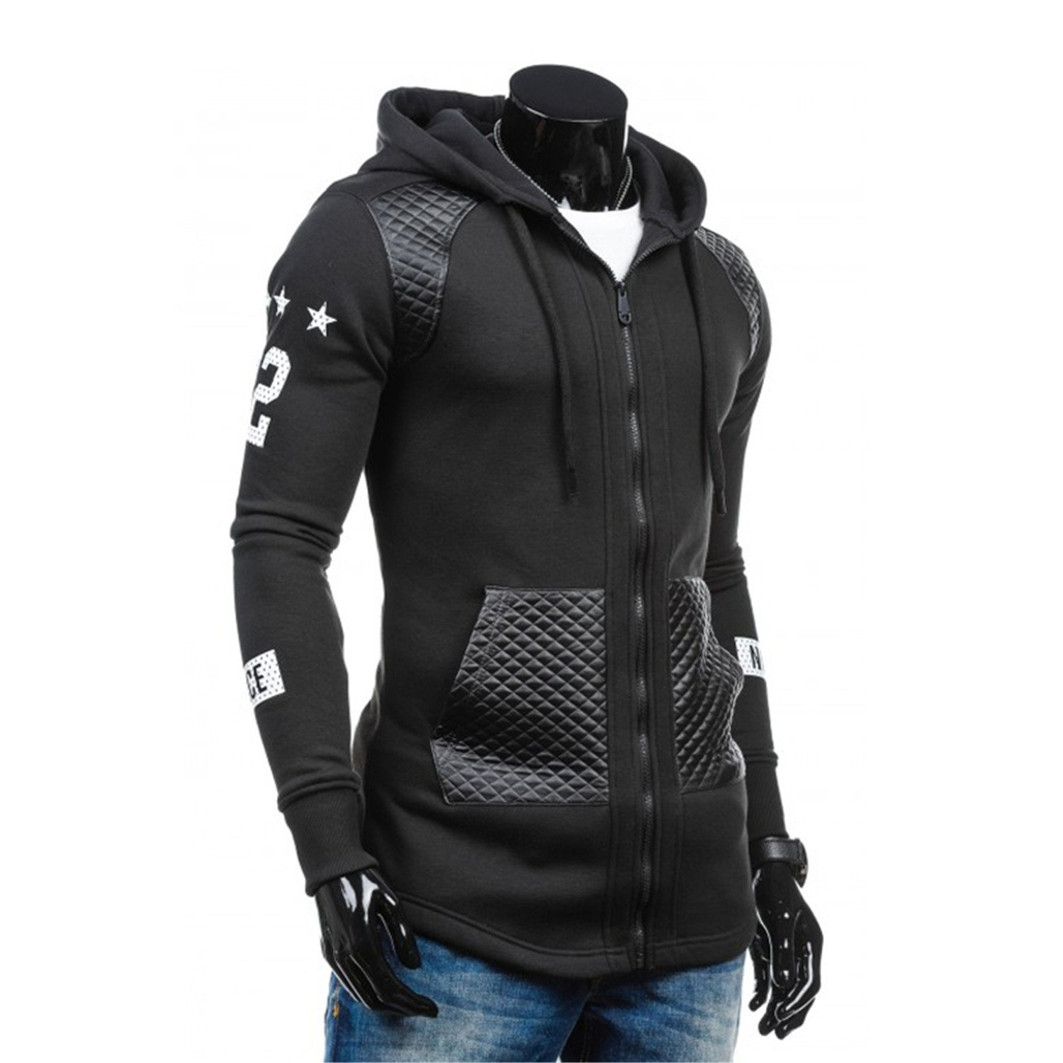 RENXINGLIN Cosy Men Sudaderas Hombre Hip Hop Mens Brand Letter Hooded Zipper Hoodie Sweatshirt at Amazon Mens Clothing store: