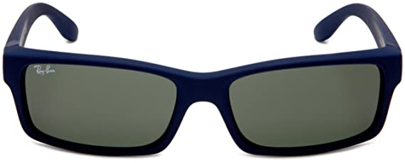 6326bc7f86 Amazon.com  Ray-Ban RB4151 - BLUE DOWNPOUR RUBBERIZE Frame CRYSTAL GREEN  Lenses 59mm Non-Polarized  Clothing