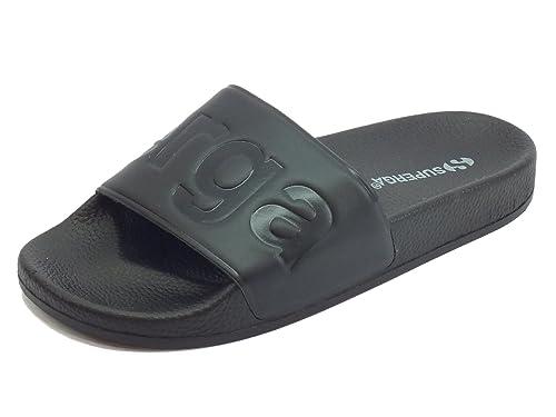 Ciabatte Superga per uomo in gomma nera con scritta nera ideali per piscina