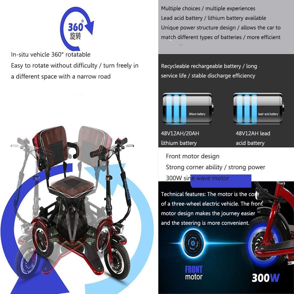 Amazon.com: Mini triciclo eléctrico plegable, 3 velocidades ...