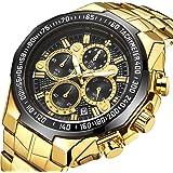 Men's Watch Original 4-in-1 Function Watch Luminous with Date Original Waterproof Analogue Quartz Stainless Steel Fashion Business Casual Gift Wristwatch (Gold&Gold Black)