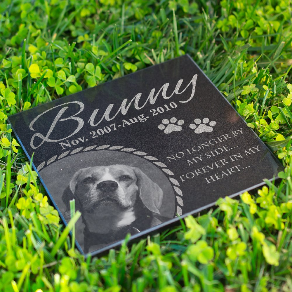 Lara Laser Works Personalized Dog Memorial with Photo Free Engraving MDL3 Customized Grave Marker | 6x6 by Lara Laser Works