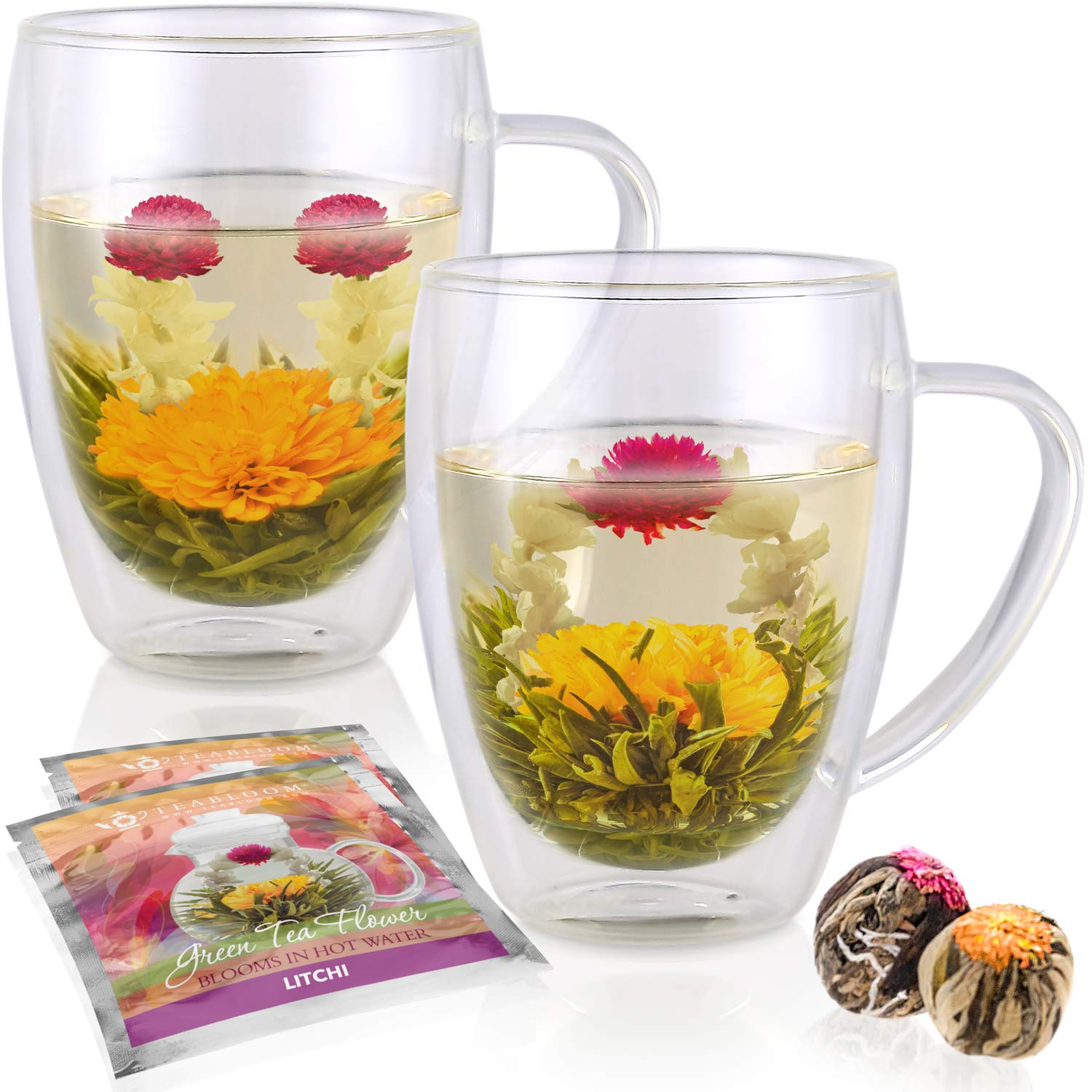 Teabloom Double Walled Glass Mugs & Flowering Tea Gift Set (Set of 2 Mugs + 2 Tea Flowers) - 12 oz Borosilicate Glasses + Blooming Teas - Great Gift for Anniversary, Valentine, Birthday, Holiday