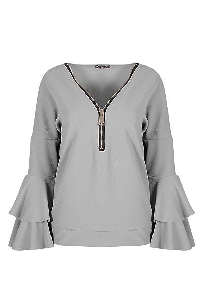 Ladies Double Peplum Ruffle Frill Long Sleeve V Neck Oversized Zip Up Womens Top